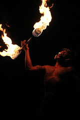 (simplychelsetta) Tags: show light tattoo fire intense live tribal disney fireeater