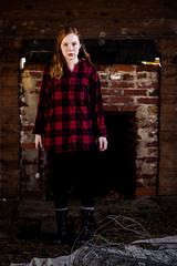 Lumber Jack Killer (limitless_imagery) Tags: old winter red color tree abandoned girl jack ginger picture pic plaid redhair wintertrees lumberjack lumber flickraward