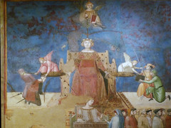Detail of Justice and Wisdom (above) from Ambrogio Lorenzetti's Allegory of Good Government