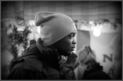 Brrr (The Old Brit) Tags: street winter cold fashion portraits mono candid style southport merseyside marketstalls sefton woolyhat lordstreet bubblejacket southportchristmasmarket