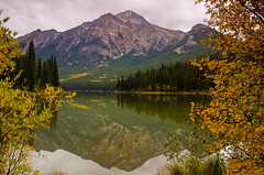 Pyramid Mountain by Pyramid Lake (RuthChoi) Tags: autumn mountain mountains nature landscape outdoors photography jasper hiking lakes alberta peaks jaspernationalpark pyramidmountain landscapephotography jasperautumn