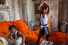 Workers, Kolkata (Marji Lang) Tags: travel flowers two people orange india men composition fleurs work workers break expression indian working smoking travail marigold kolkata march flowermarket calcutta streetshot bengali westbengal travelphotography republicofindia marchauxfleurs indianpeople travailleurs ef247028l indiansubcontinent smokecigarette canoneos5dmarkii travelanddocumentaryphotography marjilang