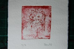 The year of the cat (Etching Stone) Tags: stone cat etching kitten year 1998 katze kater tomcat radierung btten