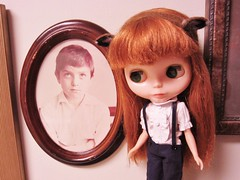 And then there's this kid (Blythe Spa Time) Tags: boy vintage hair store doll child treasure antique bored ears boredom retro redhead deer thrift frame round shorts kenner bangs dolly rement meh annoyed unimpressed leery handfelted frizzy unoccupied sideglance