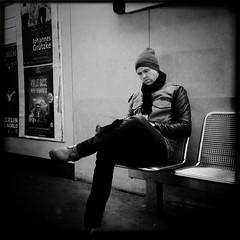 Waiting for a train (svavaroe) Tags: city blackandwhite bw man black berlin guy architecture germany underground square blackwhite waiting trainstation ios bnw iphone 2013 deatschland bismarckstrase iphonegraphy hipstamatic iphone4s deatschlandgermany