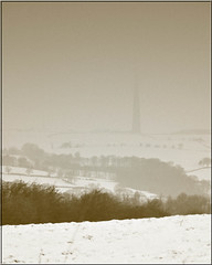 Where the Mast once stood..... (littlestschnauzer) Tags: uk trees winter england white snow cold west misty sepia photo nikon view yorkshire north freezing faded freeze fields snowing mast obscured moor distance tones effect emley scencic 2013 d5000 transmitte elementsorganizer11