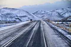 Snowy Range in Iceland (` Toshio ') Tags: road street winter snow mountains cold ice truck iceland europe european range akureyri icelandic mountainrange toshio lakemyvatn