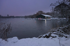 BLYM Boat House (dave:w:) Tags: england lake snow reflection night boat unitedkingdom boathouse bouys hertfordshire rickmansworth aquadrome batchworth rx100 burylakeyoungmariners