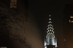 Chrysler building - Noir (Fotis Korkokios) Tags: newyorkcity nightphotography usa newyork skyscraper dark darkness manhattan steam chryslerbuilding bigapple fostis canoneosdigitalrebelxsi