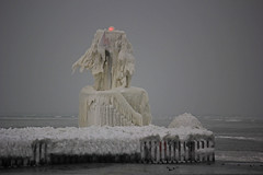 St Joseph's Guard *Explored January 27, 2013 ( ) Tags: ice monster pier michigan guard stjoseph lakemichigan icy beacon stjosephnorthpierlights urbansnoop