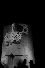 In the Shadow of Greatness (seanjonesfoto) Tags: park city longexposure nightphotography light people blackandwhite bw sculpture silhouette stone d50 50mm washingtondc movement nikon memorial shadows carving nikkor nationalparks greatness blackhistorymonth drmartinlutherkingjr civilrightsmovement