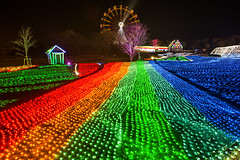 Rainbow Road (arcreyes [-ratamahatta-]) Tags: winter japan lights colorful illumination chiba ferriswheel germanvillage lightup 2012 christimas sodegaura   chibaprefecture