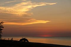 Sunrise @ Harrisville (joeldinda) Tags: lakehuron people person greatlakes alconacounty harrisville harrisvillestatepark canopy 3237 august tent beach sunrise tree d500 nikon nikond500 michigan vacation 2016