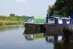 Riley Green Marina (Halliwell_Michael ## More off than on this week #) Tags: rileygreenmarina lancashire nikond40x 2016 leedsliverpoolcanal trees boattrip towpath barge barges reflection reflections water perspective landscapes