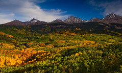 San Juan Mountain Range (jeanineleech) Tags: aspens colorado moutains rockies southwest uncompahgrenationalforest woodslake autumn fall usa sanjuanmountainrange panoramic pano panorama colorful peaks forest
