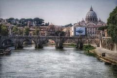 Perspectives: Ponte Sant'Angelo e la Basilica di San Pietro (Bebo_cik) Tags: church bridge river cityscape italy rome