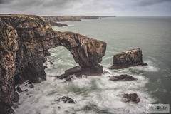 Green Bridge Of Wales (JimCosseyPhotography) Tags: green bridge wales pembrokeshire coast longexposure microthourthirds m43 lumix panasonic gx8 samyang 12mm tiffen 10stop nd landscapes seascpaes sea waves rock moody clouds