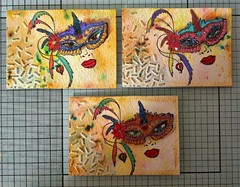 Masquerade (CraftyBev) Tags: atc stamping painting brusho aztec paints