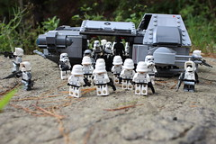 """Bird in on the ground, commence loading. Another bird inbound, send down the next batch!"" (kevinmboots77) Tags: lego legography starwars tieads stormtroopers scouttroopers"