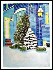It's Christmas - Painting by STEVEN CHATEAUNEUF (2012) (snc145) Tags: painting art illustration acrylic colors christmas winter artistic scenery landscape poster 63 lantern light golden glow trees bushes snow house windows door steps artist artists paper paintings chelmsford massachusetts usa nature stevenchateauneuf 2012 visualart ringexcellence flickraward soe