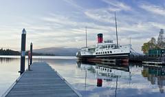 maid of the loch, loch lomond, scotland (Gary Alexander's Landscape Photography) Tags: old blue trees light sunset red heritage fashion clouds canon way landscape mirror scotland boat october stream angle centre wide gang paddle kitlens atmosphere visit historic hills walkway restore mirrored historical restoration slip 1855mm loch visitor lomond steamer maid balloch lochs fashioned polarised polarise slipstream 550d paddled impressedbeauty t2i thephotographyblog ballochsteamslipway