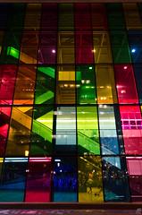 Jour 329 (Sebastien Morin) Tags: city glass colors wall architecture night stairs project lights angle montral curtain wide scene architectural explore qubec lumiere palais 365 mur reflexion nuit escalier couleur rideau thermos color vitre projet congrs mtlenlum