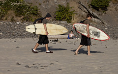 5870.2 Brown Shirt Surfers (eyepiphany) Tags: beach oregon manzanita oldgrowth smugglerscove oswaldstatepark oregonbeaches manzanitaoregon shortsandsbeach summerlife shortsandbeach twosurfers oregontourism surfingspot bestplacestosurf bestplacestosurfinoregon oregonbeachtowns hotsurfingspots tandomboards afteradayofsurf