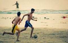 beach football ([s e l v i n]) Tags: india game football play action bombay mumbai beachfootball versova boysplayingfootball versovabeach ©selvin indianfootball