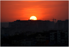 Last Sunset 12.12.12 (saish746) Tags: from city eve sunset red orange sun india last ball stars star evening town cityscape earth balcony horizon bangalore 12 ban universe doomsday 2012 zenith shriram 121212 samruddhi 12122012 saish746