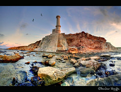 The Old Light House ! (Bashar Shglila) Tags: light sea sky lighthouse mountains water clouds stones libya tripoli beacon bashar libyan libyen       lbia  libi  liviya  garabolli lby libja shglila mygearandme mygearandmepremium mygearandmebronze