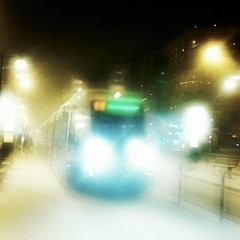 Christmas Spirit (Dirigentens) Tags: snow lights evening blurry tram sn sprvagn ljus vsttrafik kvll suddig mygearandme camera360 instagram samsunggalaxyace rememberthatmomentlevel1