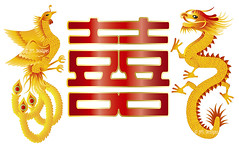 Dragon and Phoenix with Chinese Double Happiness (JPLDesignsPDX) Tags: wedding red white love phoenix illustration ball poster word asian gold groom bride couple dragon power symbol drawing anniversary background pair text chinese ceremony culture marriage happiness double invitation card harmony packet calligraphy tradition eternity greeting vector isolated wealth prosperity auspicious