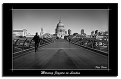 Morning Joggers in London ...... postcard........... (pete stone) Tags: morning bridge blackandwhite bw london thames mono postcard running millenniumbridge stpaulscathedral joggers canoneos5d