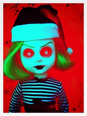 Scary Xmas! (welovethedark) Tags: christmas red snowflakes holidays doll iphone creepydoll livingdeaddolls nohell iphonephoto iphonecamera iphonecameraapps snowflakeeyes holidaylivingdeaddoll2011