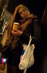 Eyes Wide Shut (zeezodean) Tags: street portrait urban chicago scarf reflecting illinois eyes nikon coffeecup candid citylife thoughtful streetphotography plasticbag lakeview humancondition chicagoist d90 citypeople streetportraiture sfth zeezodean deangolemis