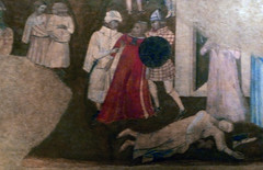 Detail of abduction and murder from Ambrogio Lorenzetti's Allegory and Effects of Bad Government in the City and the Country