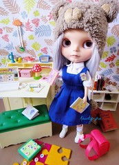 Phew! I survived First Day of School! (Kewty-pie) Tags: bear school hat writing pencils radio vintage bench bag uniform desk bureau laptop helmet edsel books blythe custom rement stationery sharpener licca pinafore sindy dollie shelve chantillylace