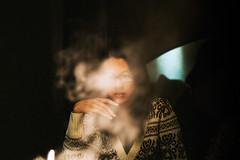 SML_121230_0042 ( Sean Marc Lee ) Tags: girl mystery digital 35mm glasses glow fuji smoke taiwan hide fujifilm taipei   tasya xe1