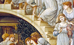 Burne-Jones, The Golden Stairs, detail with instruments