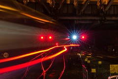Train light trails at Newport station (mikeplonk) Tags: longexposure nightphotography light red green southwales train vanishingpoint movement lowlight nikon railwaystation newport lighttrails signal movingtrain axlecounter d5100 hillfieldtunnel