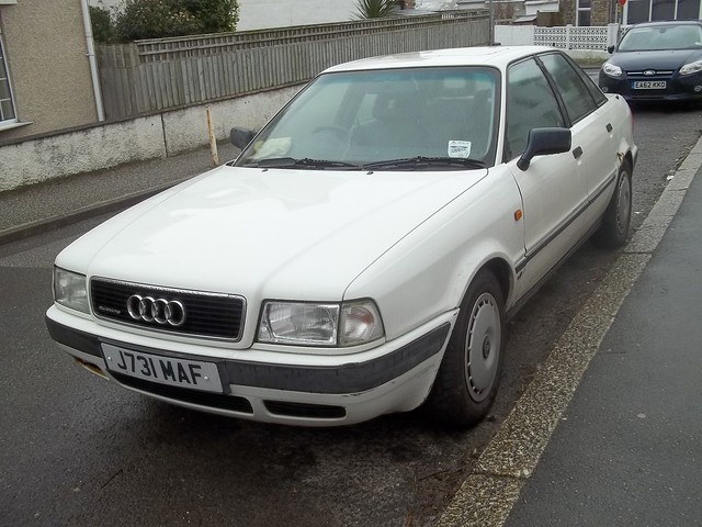 old uk white classic car vintage cornwall retro 1991 1992 audi 80 reg rare registration cornish quattro j731maf