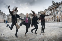 "Somerset House and the girls 'jump for joy"" (Time to try) Tags: uk london nikon fisheye somersethouse nikkor jumpforjoy timetotry copyright2013brucehammersley"