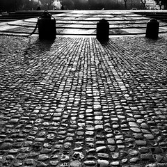 sanpietrini San Giovanni (SS) Tags: city winter light sky bw italy black roma texture monochrome backlight composition contrast mood view angle pov walk basilica 4 perspective piazza framing tones sanpietrini bianco lazio iphone