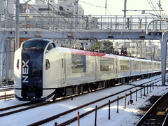 NEX rolling by (Matt-san) Tags: winter japan japanese jr yokohama tokaido snowsnow