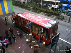 Swire Coca-Cola delivery truck in Wanchai, Hong Kong () Tags: red truck cola coke hong kong delivery cans coca wanchai bottler swire