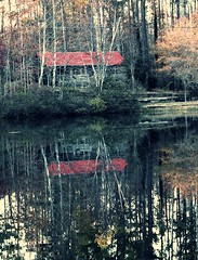 within (LauraSorrells) Tags: november blue autumn red favorite reflections pond cabin muted 2011 snakedoctorpond episcopalchurchoftheholyfamily