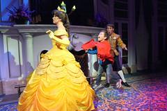 Beast Scares Belle (Sam Howzit) Tags: jumping character disney surprise waltdisneyworld leap magickingdom beautyandthebeast athan newfantasyland enchantedtaleswithbelle