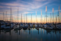 Fisherman's Wharf Boats Rocking (yangster007) Tags: sanfrancisco california longexposure sunset usa landscape pier dock dusk goldengate lighttrails pier39 goldensunset citylandscape urbanlandscape sunsethours