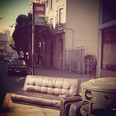tenderloin waiting room, with drink service. (unknown8bit) Tags: sanfrancisco square whiskey sierra couch sofa muni squareformat waitingroom 38 tenderloin whiskeybottle 38l iphoneography instagramapp uploaded:by=instagram