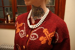 Pearl Necklace (TheYarnBearer) Tags: fashion tattoo sweater knitting pattern designer knit yarn 1950s blonde booze lush housewife lulz peen ravelry pearlclutcher peencardigan